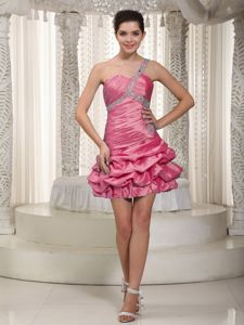 One Shoulder Pick-ups Beaded Hot Pink Homecoming Dresses on Sale