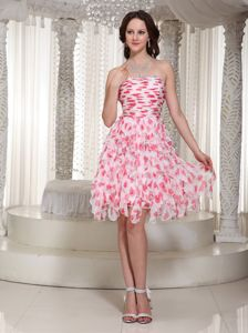 Hot Ruffled Printing Knee-length Homecoming Dress in Warsaw Indiana