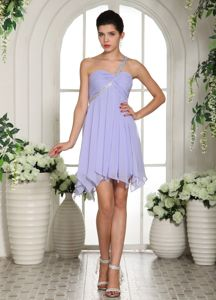 Zipper-up One Shoulder Lilac Ruched Homecoming Dress Asymmetrical Hem