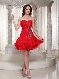 Appliqued Ruffled Red Short Homecoming Cocktail Dress for Girls 2014