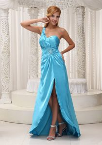 Top Design One Shoulder Ruched Evening Homecoming Dress in Aqua Blue