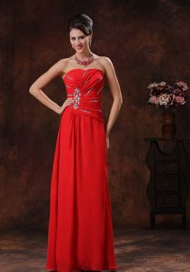 Plus Size Red Long Homecoming Dresses with Beading in Whiting USA