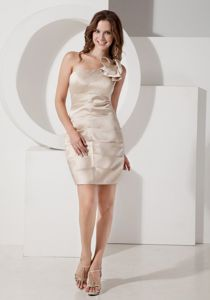 Affordable One Shoulder Mini Champagne Homecoming Dress under 100
