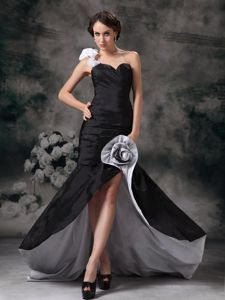 One Shoulder High-low White and Black Homecoming Dresses on Promotion