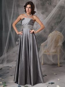 Lace-up Strapless Beaded Gray Long Homecoming Dance Dress for Wholesale