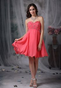 low Price Watermelon Red Short Dress for Homecoming with Beaded Patterns