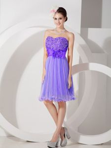 Cheap Knee-length Purple Beaded Junior Homecoming Dresses with Bow