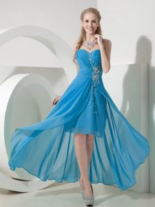 High-low Ruched Beaded Baby Blue Celebrity Homecoming Dress on Sale