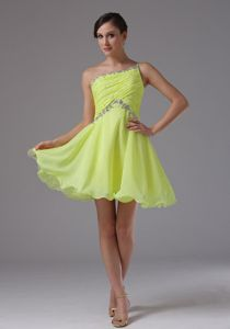 One Shoulder Beaded Yellow Green Mini Homecoming Dress in Whiteland USA