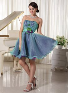 Inexpensive Organza Two-Toned Short Homecoming Dress with Flowers