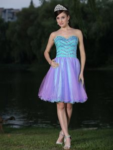 Shimmering Two-Toned Short Homecoming Cocktail Dress with Beading