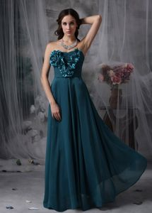 Zipper up Green Chiffon Long Homecoming Dance Dresses with Flower