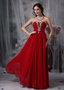 Chiffon Red Celebrity Homecoming Dress with Rhinestones Fast Shipping
