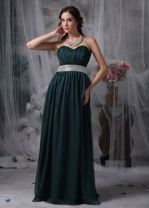 High-Class Long Chiffon Ruched Homecoming Dance Dresses in Dark Green