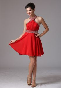 Top Halter Beaded Red Mini Homecoming Cocktail Dress Fast Shipping