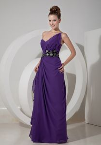 One Shoulder Appliqued Ruffled Evening Homecoming Dress in Purple