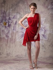 One Shoulder Ruched Red Mini Party Dress for Homecoming under 100
