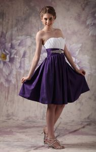 Inexpensive White and Purple Short Homecoming Dress in Simple Style
