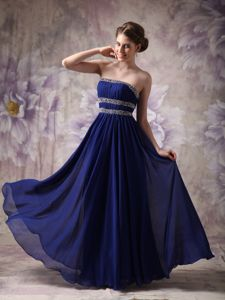 Recommended Blue Chiffon Long Junior Homecoming Dresses with Beads