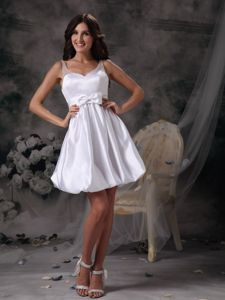 Designer Straps White Mini Homecoming Dress with Bow in Nappanee USA