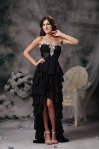 Top Design Black High-low Homecoming Dress with Ruffles in New Haven USA