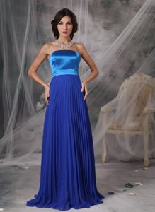 Beautiful Pleated Royal Blue Long Homecoming Dresses for Girls on Sale
