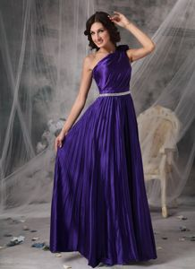 One Shoulder Pleated Purple Party Dress for Homecoming in 2014 Autumn