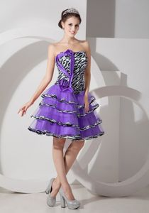 Tiered Eggplant Purple Short Homecoming Cocktail Dress with Zebra Print