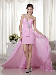 High-low Pink Chiffon Homecoming Cocktail Dress with Beads and Ruche
