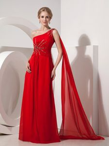 Watteau Train One Shoulder Red Party Dress for Homecoming Fast Shipping