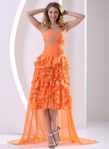 Watteau Train Orange Junior Homecoming Dresses with Beads and Ruffles