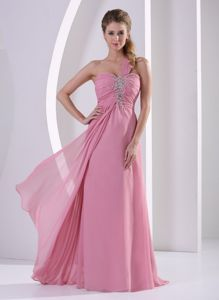 One Shoulder Beaded Rose Pink Homecoming Dress in Hartford City USA