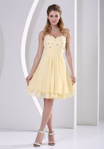 Lovely Zipper-up Beaded Yellow Homecoming Cocktail Dresses Factory
