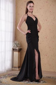 Classic Halter Slitted Black Homecoming Princess Dresses Brush Train