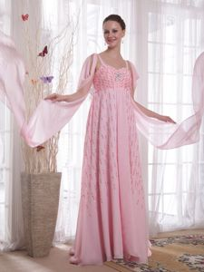 Loose Watteau Train Straps Baby Pink Homecoming Dress with Paillette