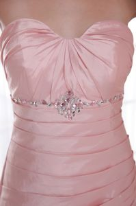 Simple Ruched Beaded Baby Pink Evening Homecoming Dress for Wholesale