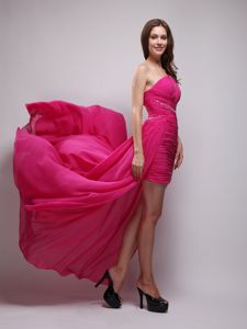 Hot Pink One Shoulder High-low Party Dress for Homecoming on Sale