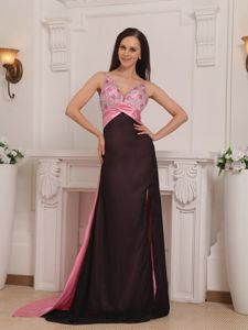 Brush Train Elastic Woven Satin Pink and Black Homecoming Dress n Beading from Vail