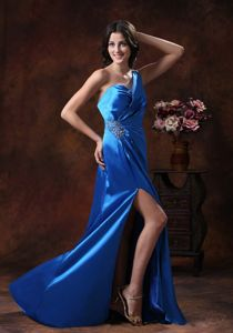 Sky Blue High Slit One Shoulder Homecoming Dresses with Beaded Decorate from Ames