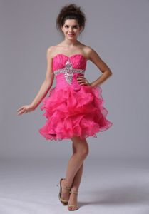 Sweetheart A-Line Mini-length Organza Beaded Homecoming Dress in Hot Pink from Rome