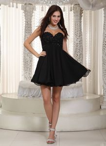 A-line Sweetheart Mini-length Chiffon Cute Homecoming Dresses in Beading from Metairie