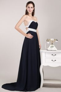 Chiffon Beaded Black Empire Vintage Homecoming Dresses in Sweetheart from Metairie