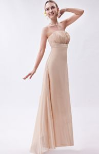 Champagne Empire Strapless High-low Chiffon Homecoming Dresses with Ruches in Boise