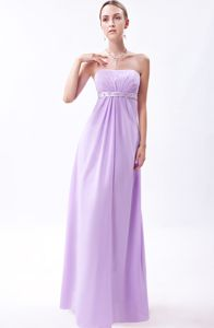 Empire Strapless Floor-length Lavender Homecoming Dresses with Embroidery from Rome