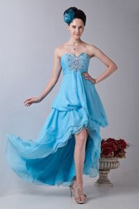 Empire Sweetheart Baby Blue High-low Vintage Homecoming Dresses in Chiffon in Kihei