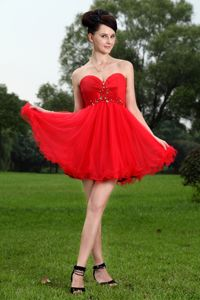 Sweetheart Red Princess Beaded Junior Homecoming Dresses in Mini-length from Lisle