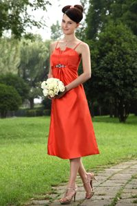 A-line Straps Tea-length Orange Beaded Tight Homecoming Dresses in Taffeta in Ames