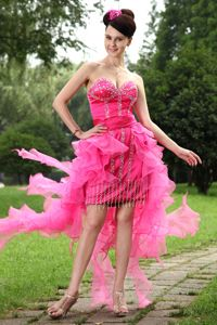 Sweetheart High-low Hot Pink Beaded Sparkly Homecoming Dresses in Organza in Lisle