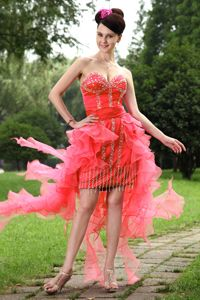 Red Column Sweetheart High-low Organza Short Homecoming Dresses in Beading in Ocala