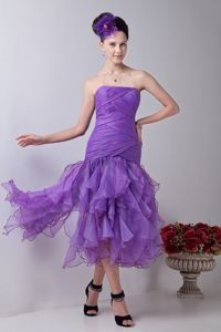 Tea-length Organza Ruched Lavender Mermaid Homecoming Dresses in Strapless in Katy